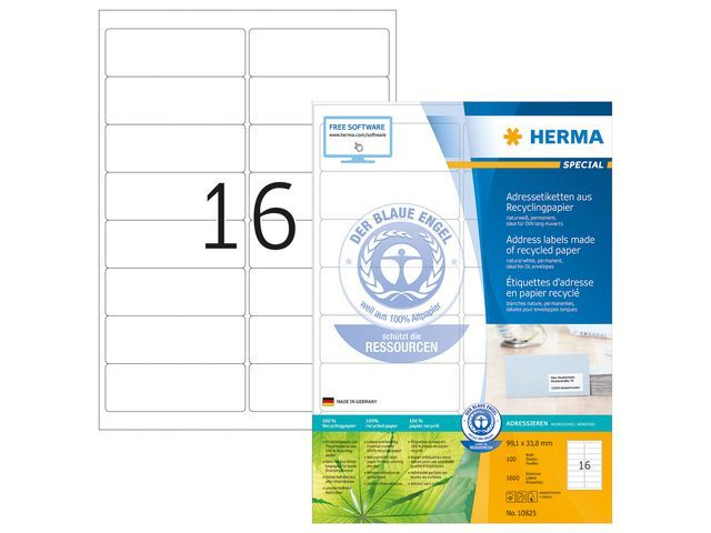 Herma Etiket ILC 99x34 recy wit/pak 1600