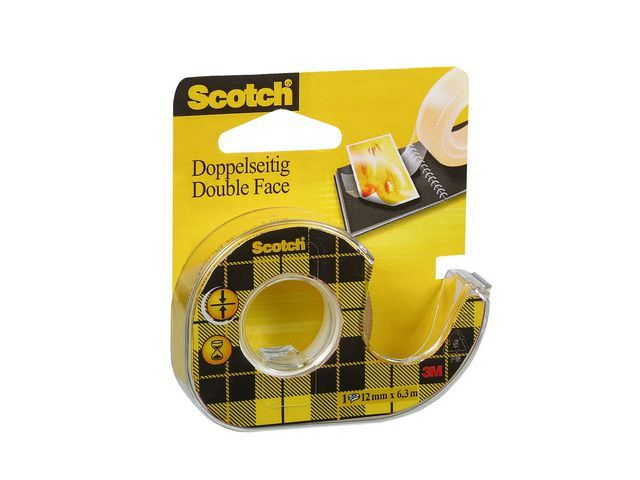 Scotch® Plakband dubbelz. Scotch 12mmx6.3m +disp
