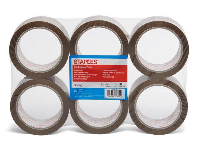 Staples Verpakkingstape PP 50mm low noise br/pk6