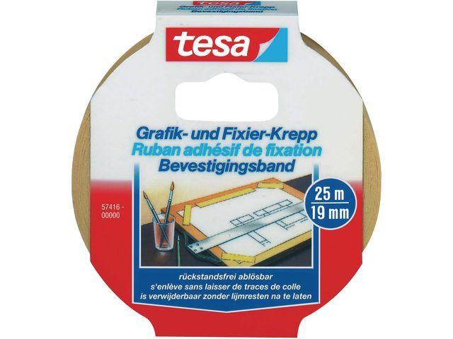 tesa® tesa® Afplaktape 19 mm x 25 m. asgat 76 mm (rol 25 meter)
