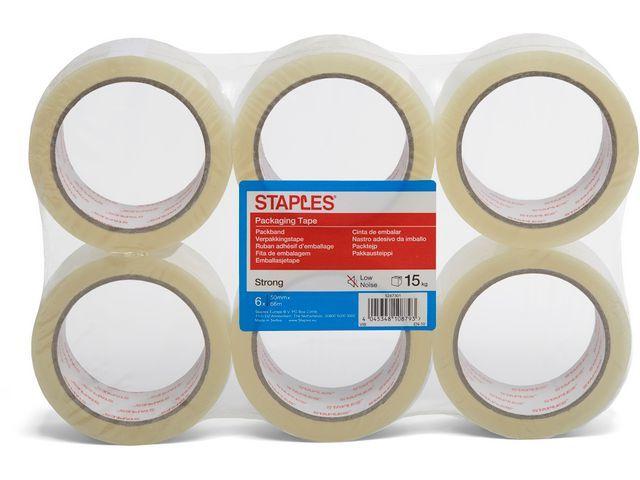 Staples Verpakkingstape PP 50mm low noise tr/pk6