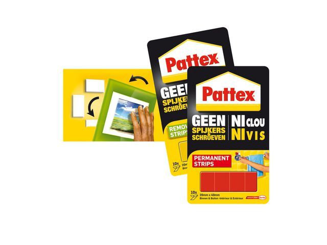 Pattex Montagestrip Pattex non-perm 20x40mm/p10