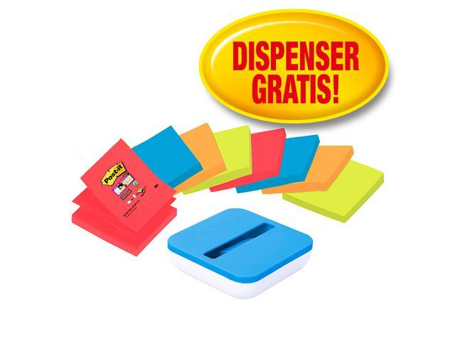 Post-it® Dispenser Z-note bl/wit incl.8x 76x76 nn