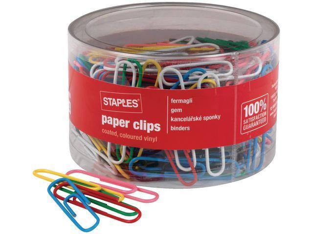 Staples Paperclip SPLS 50mm vinyl assorti/pk 200