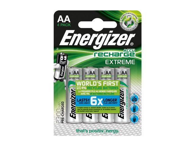 Energizer Energizer Extreme oplaadbare batterijen. HR6/AA 2300 mAh. blisterverpakking van 4 opgeladen batterijen (pak 4 stuks)