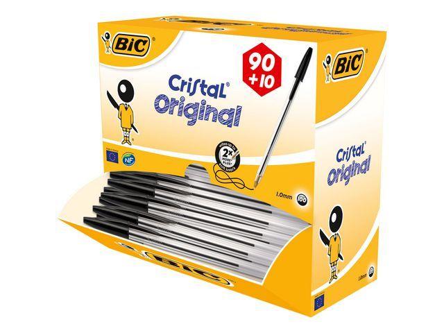 BiC BiC Balpen Cristal Stick Value Pack Medium. zwart (doos 100 stuks)