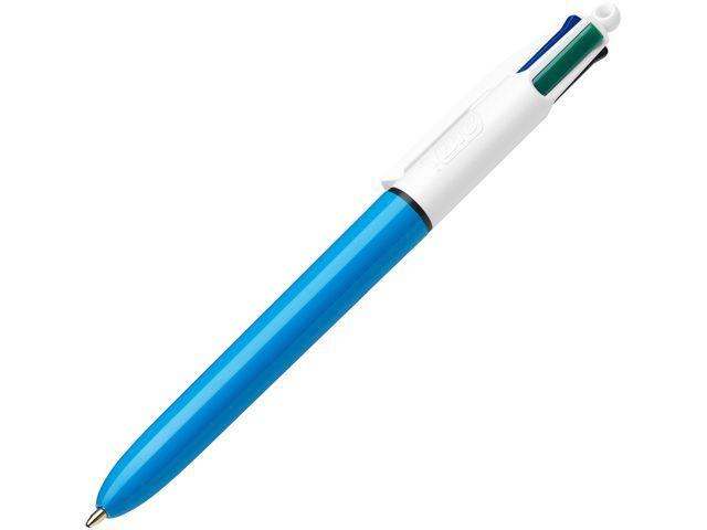 BiC BiC 4 Colours Grip balpen met kliksysteem. medium punt. blauwe huls met grip. diverse inktkleuren: Zwart. blauw. groen. rood (doos 12 stuks)