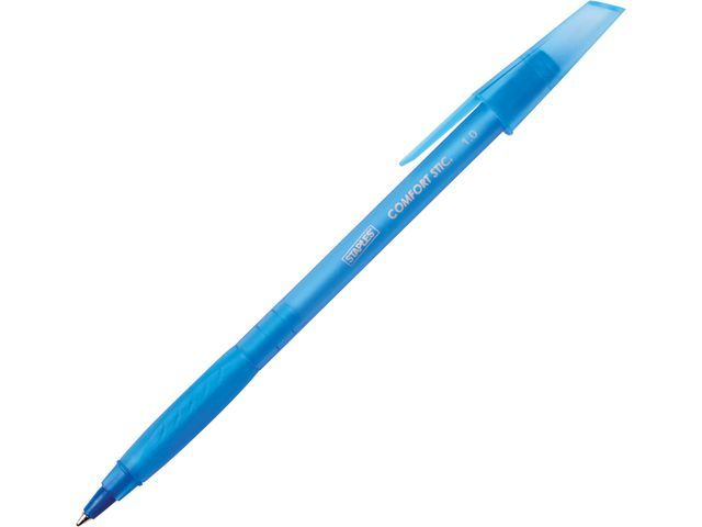 Staples Staples Comfort Stic™ Grip balpen. middelgrote punt 1 mm. doorzichtige huls. blauwe inkt (pak 12 stuks)