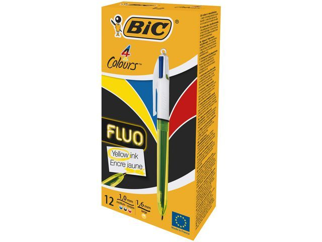 BiC BiC Balpen 4 Colours Fluo (pak 12 stuks)