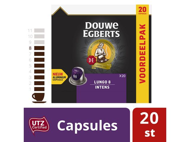 Douwe Egberts Koffie capsules DE lungo 8 intns 20/ds10