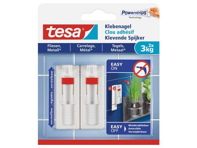 tesa® Verstelbare klevende spijker 3kg wt/pk2