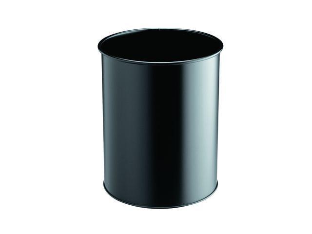 Durable Prullenbak rond recht zwart 15l metaal