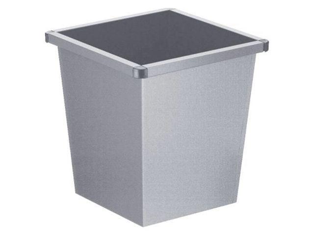 Prullenbak vierkant 27l metaal grijs