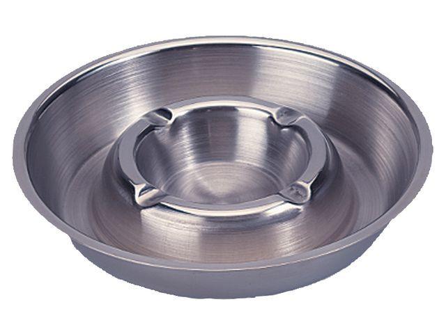 Asbak RVS asbak stapelbaar met binnenring. diameter 16 cm