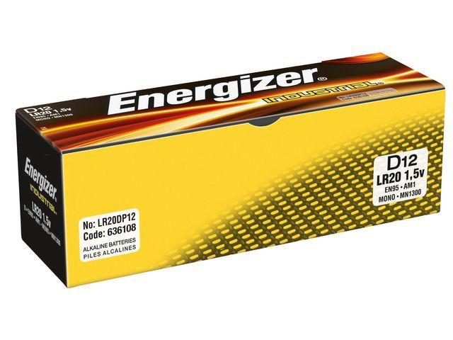 Energizer Energizer Alkaline Tender Industrial D / LR20 1.5 V niet-oplaadbare batterijen zakelijke (pak 12 stuks)