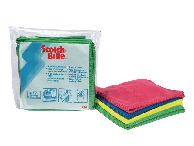 Scotch-Brite Reinigingsdoek Scotch-br. h'perf gr/pk 5