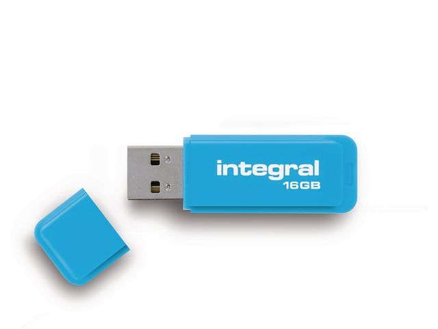 INTEGRAL MEMORY USB Stick Integral flash neon blauw 16GB