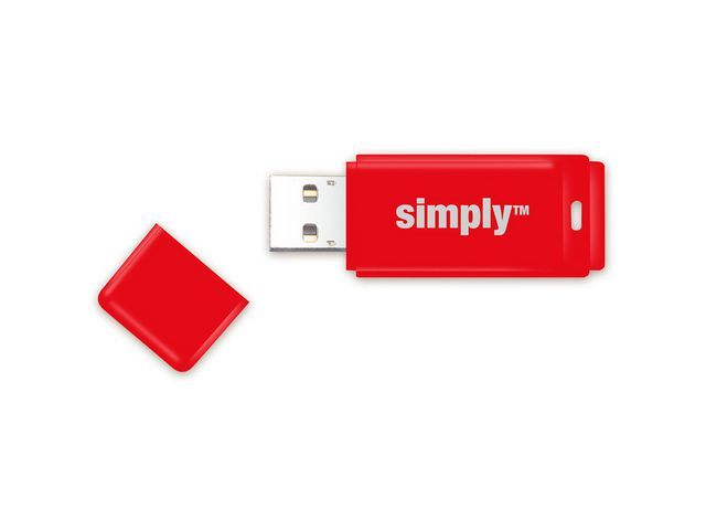 Simply USB 2.0 flashdrive Simply 32GB rood