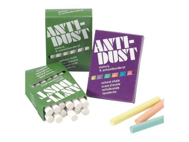 Krijt anti-dust assorti/set 4x12
