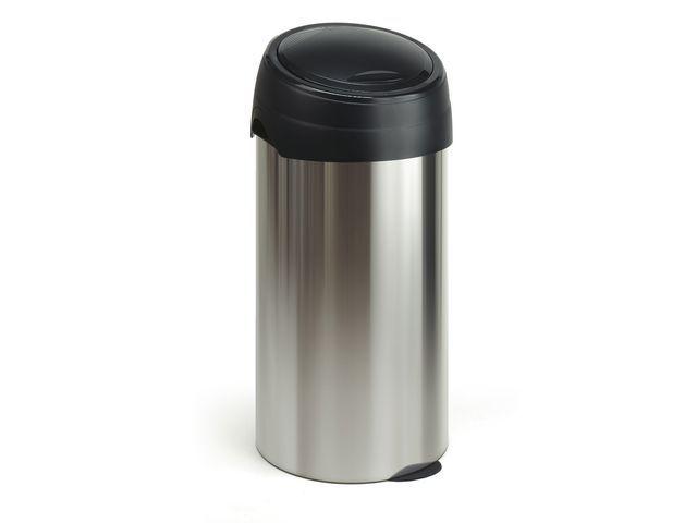 Burosprinter Ronde afvalbak RVS look en top zwart