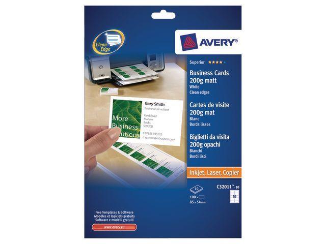 Avery Visitekaart Avery I 85x54 200g mat/pk100
