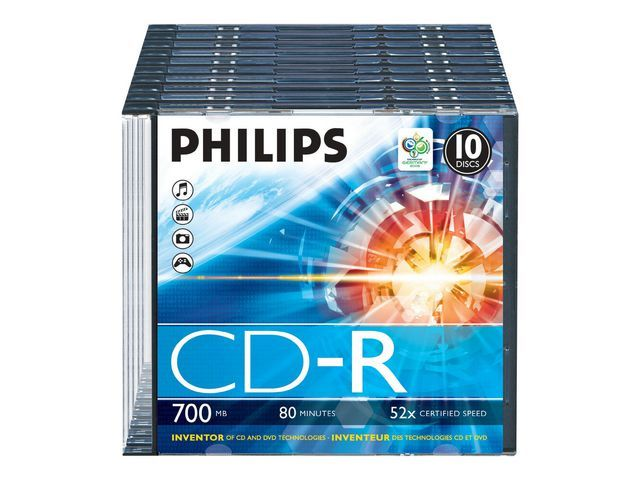 Philips CD-R Philips 700mb slim case/pk10