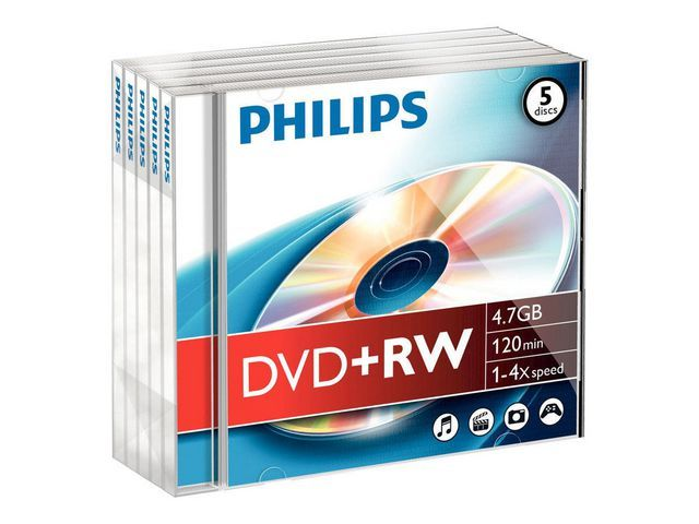 Philips DVD+RW Philips 4.7GB JC/pk5