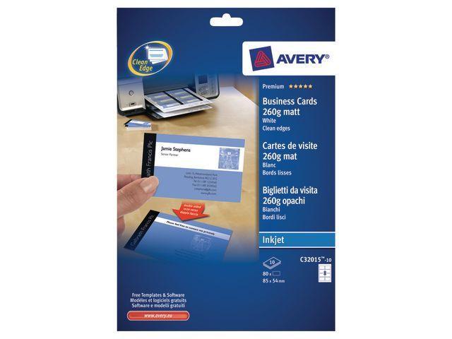 Avery Visitekaart Avery I 85x54 260g mat/pk 80