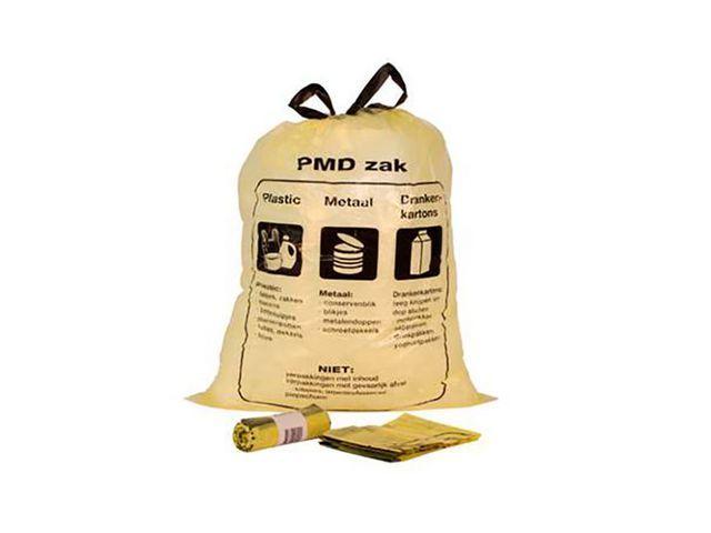 Afvalzak PDM 60x80-5cm. 60 liter. geel transparant (doos 480 stuks)