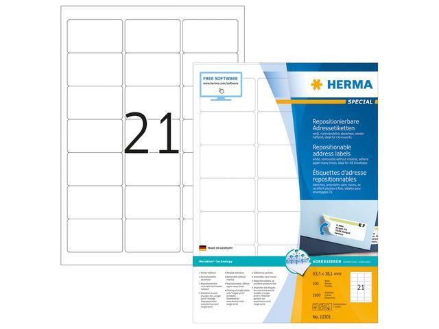 Herma Etiket ILC 64x38 afn. wit/pak 2100