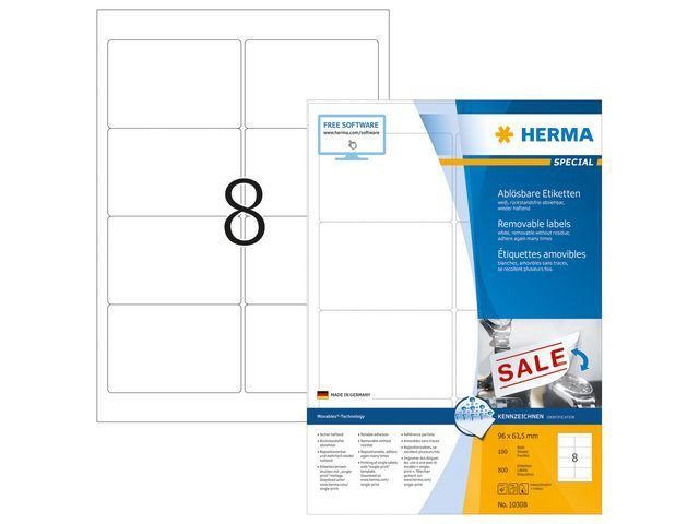 Herma Etiket ILC 96x64 afn. wit/pk 800