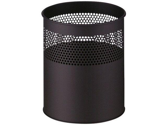 Papierbak 15l metaal geperf zwart