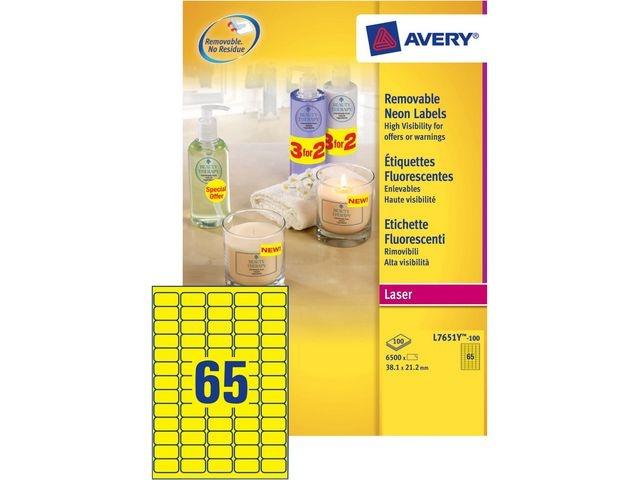 Avery Etiket Avery L 38x21 fluor geel/doos6500