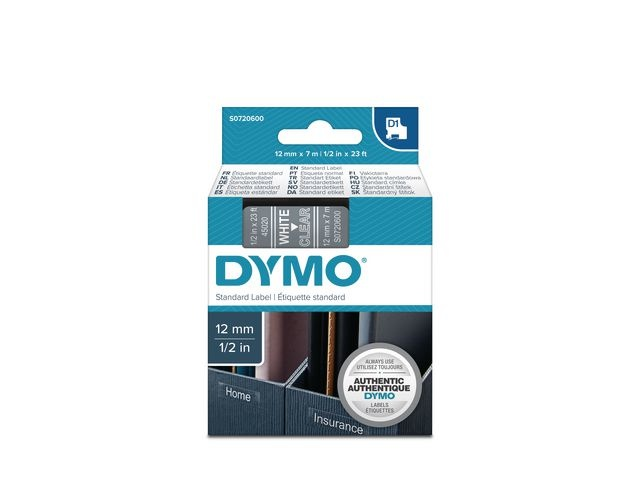 Dymo Tape Dymo D1 12mm wit/transp/ds 5