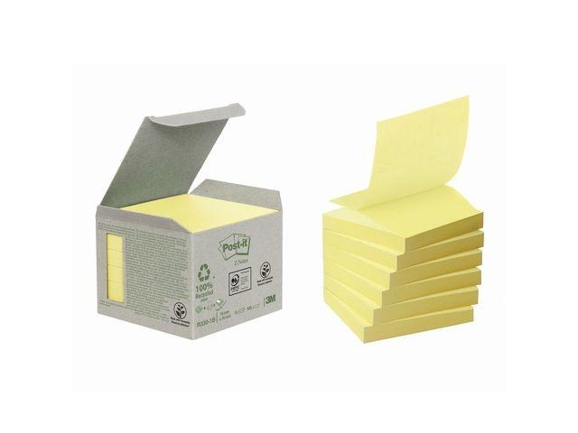 Post-it® Notitieblok 3M Z-note recyc 76x76 gl/p6