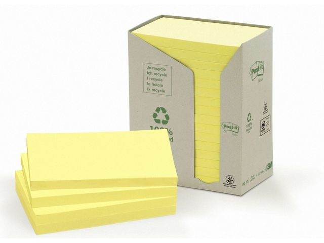 Post-it® Notitieblok 3M recycled 76x127 gl/pak16