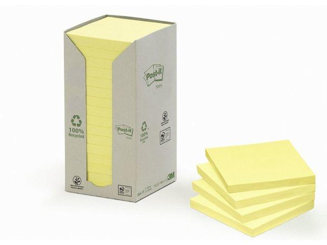 Post-it® Notitieblok 3M recycled 76x76 gl/pak 16