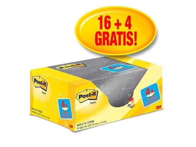 Post-it® Notitieblok Post-It 38x51 kan.geel/pk 20