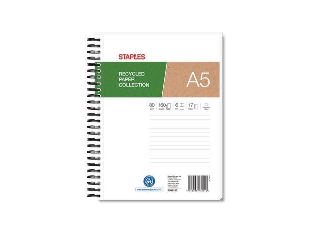 Staples Spiraalblok SPLS A5+ 17gt recyc lijn/pk5