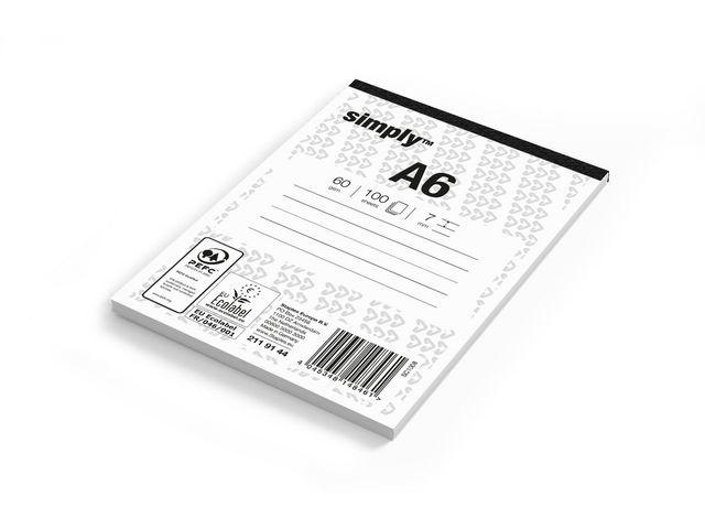 Simply Schrijfblok Simply A6 lijn 100v/pk5