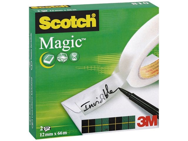Scotch® Plakband magic Scotch 810 12mmx66m/pk2rl