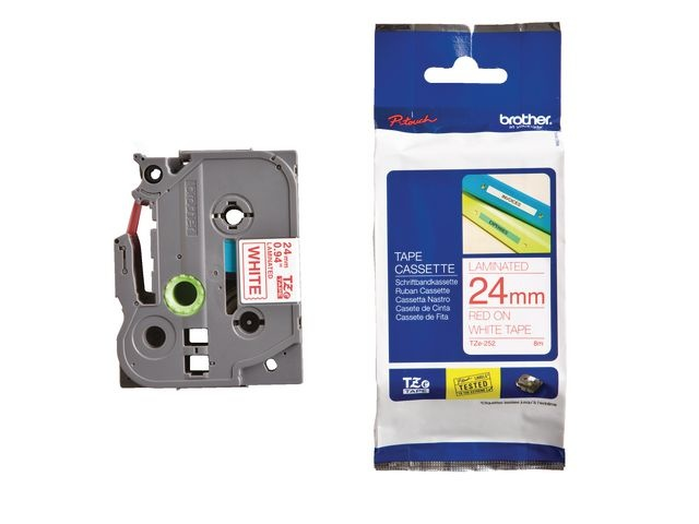 Brother Tape P-Touch TZ-252 24mm rood op wit