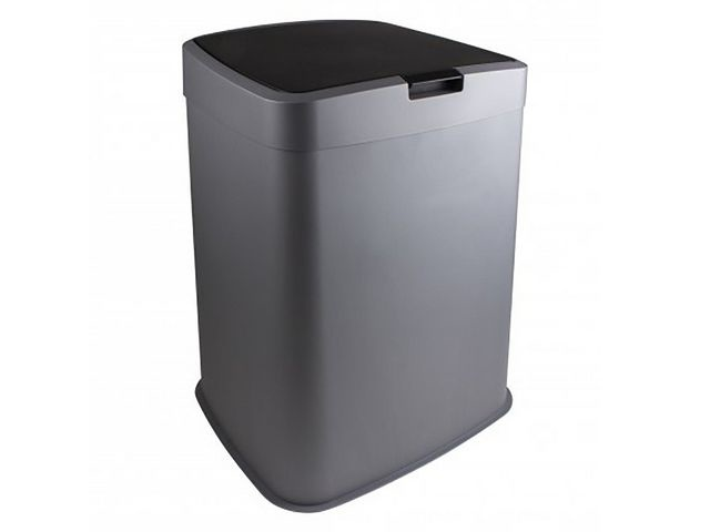Afvalbak 70L kunststof zilver zwart
