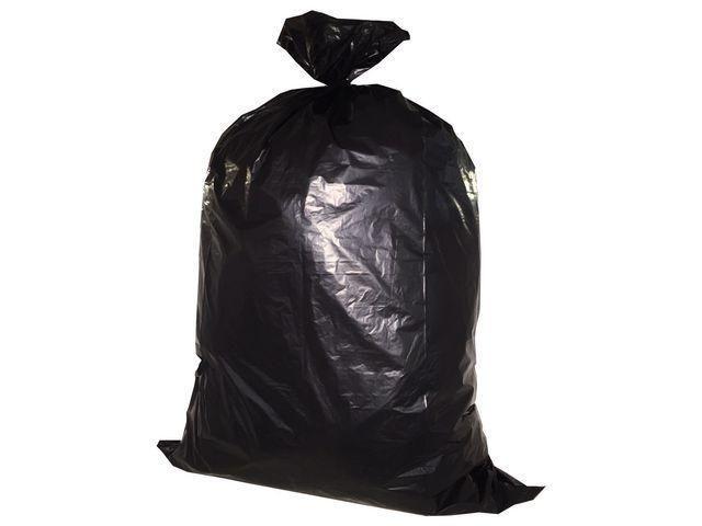 Afvalzak 240 liter, 65/25 x 140 cm, Zwart (rol 10 stuks)