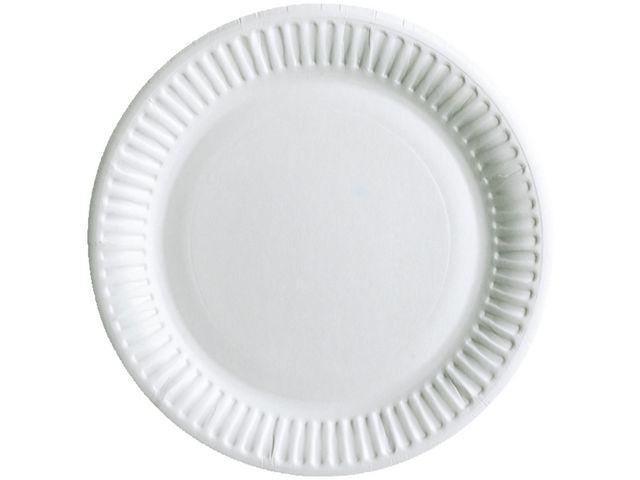 Staples Staples papieren wegwerpbord, 15 cm, wit zonder coating (pak 100 stuks)