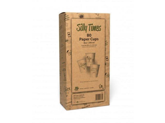 CONPAX Silly Times Fairtrade Koffiebekers In Displaydoos, Karton, 240 ml, Bruin (doos 6 x 80 stuks)