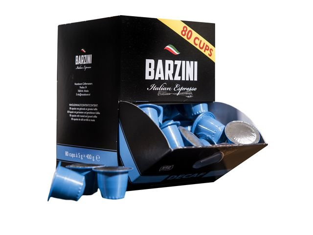 BARZINI BARZINI Decaf, UTZ Koffiecapsules, Cafeinevrij (doos 6 x 80 stuks)