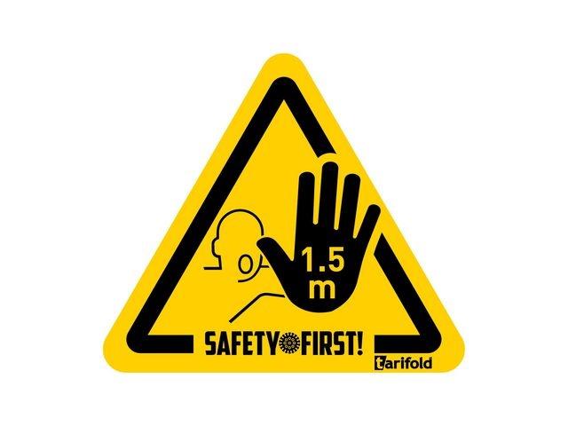 Jalema Jalema Waarschuwingssticker 1.5 meter afstand houden met hand. Geel. Zwart (pak 4 stuks)
