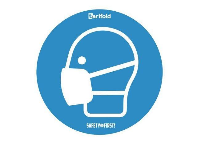 tarifold tarifold Deursticker Mondkapje. Vinyl. Ø 250 mm. Blauw-wit (pak 2 stuks)