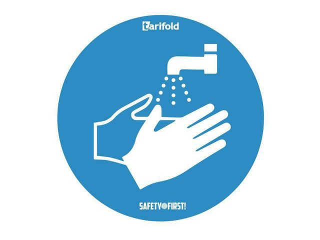 tarifold tarifold Deursticker Handen wassen verplicht. Vinyl. Ø 250 mm (pak 2 stuks)